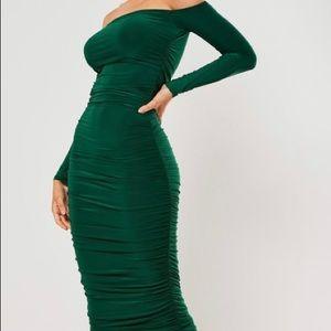 Bardot slinky ruched bodycon midaxi dress